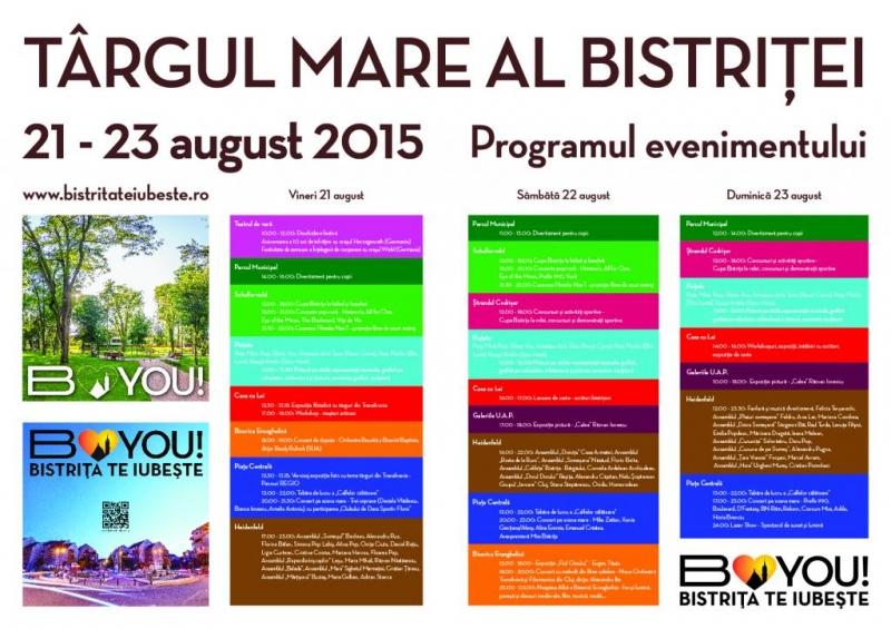 """TÂRGUL MARE AL BISTRIȚEI"" - 21-23 AUGUST - PROGRAM COMPLET"