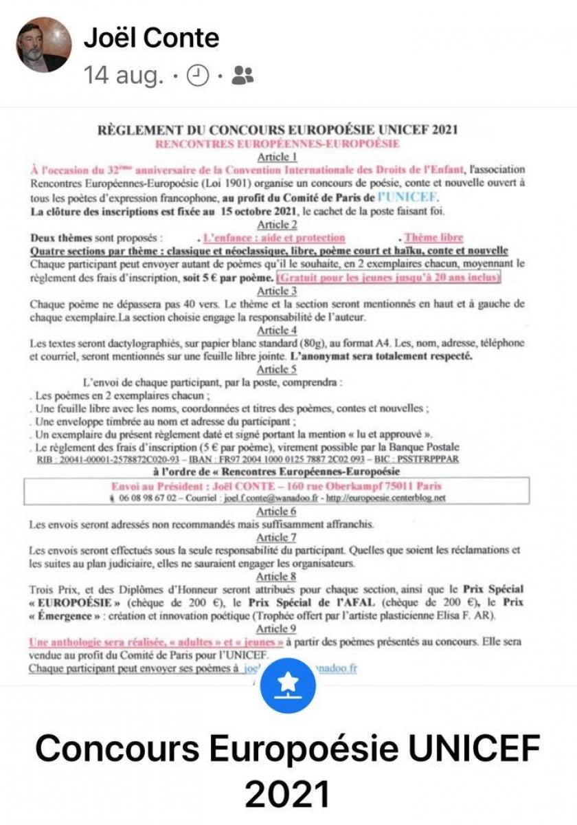 CONCURS DE POEZIE SUB AUSPICIILE UNICEF