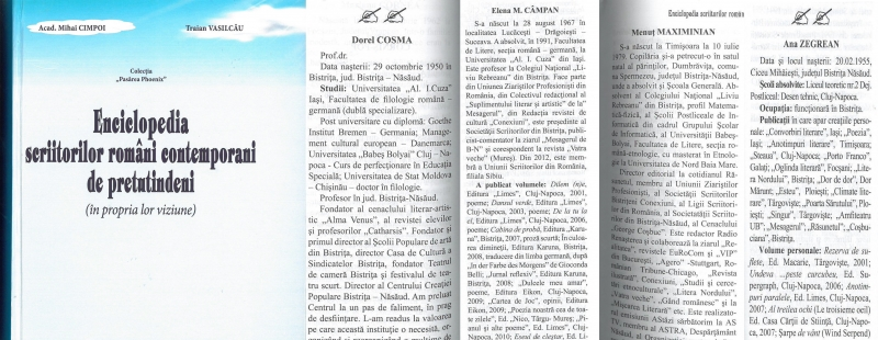 """SCRIITORI BISTRIȚENI ÎN """"ENCICLOPEDIA SCRIITORILOR ROMÂNI CONTEMPORANI DE PRETUTINDENI"""""""