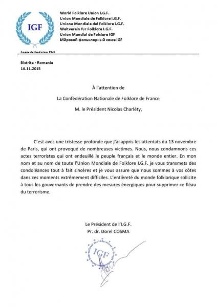 UNIUNEA MONDIALĂ DE FOLCLOR - I.G.F. - ÎȘI EXPRIMĂ REGRETUL FAȚĂ DE ATENTATELE DE LA PARIS