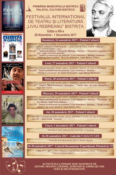 """MIERCURI, 29 NOIEMBRIE 2017 - PROGRAM FESTIVALUL INTERNAȚIONAL DE TEATRU ȘI LITERATURĂ """"LIVIU REBREANU"""""""
