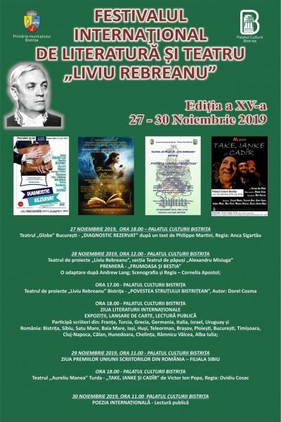 """FESTIVALUL INTERNAȚIONAL DE LITERATURĂ ȘI TEATRU """"LIVIU REBREANU"""" - VINERI, 29 NOIEMBRIE 2019"""